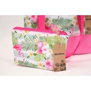 Torba + kosmetyczka flamingi