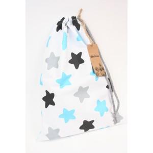 worek bawełniany gwiazdy czarno-niebiesko-szare